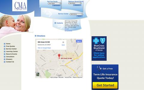 Screenshot of Maps & Directions Page cmaagency.com - CMA Agency  auto insurance  Gainesville, homeowners insurance  . Agency Locations - captured Oct. 1, 2014