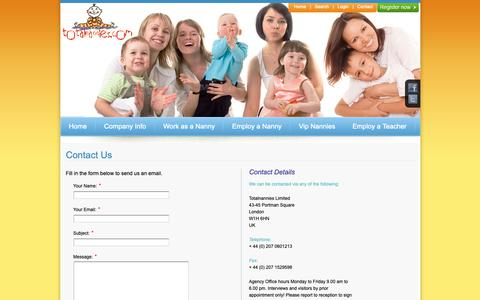 Screenshot of Contact Page totalnannies.com - Contact Details - captured Oct. 20, 2018
