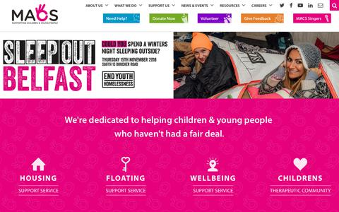 Screenshot of Home Page macsni.org - Home - MACS Supporting Children & Young People - captured Nov. 11, 2018