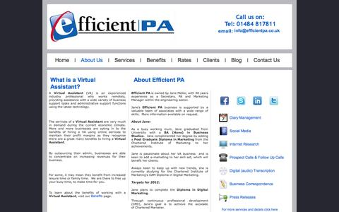 Screenshot of About Page efficientpa.co.uk - What is a Virtual Assistant | About Efficient PA - captured Sept. 29, 2014