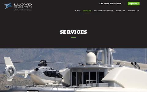 Screenshot of Services Page lloydhelicopters.com - Services | Lloyd Helicopters - captured July 22, 2018