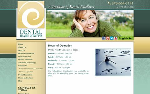 Screenshot of Hours Page dhconcepts.com - Hours of Operation North Reading MA., Dental Health Concepts - captured June 23, 2016