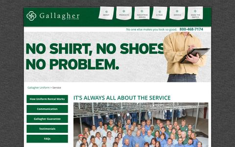 Screenshot of Support Page gallagheruniform.com - Gallagher Uniform Stands For Superior Customer Service - captured May 14, 2017