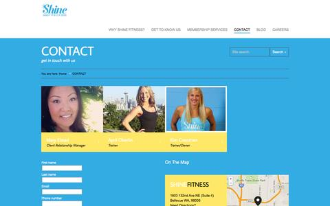 Screenshot of Contact Page Signup Page shinefit.com - CONTACT | Shine Fitness - captured Oct. 26, 2014
