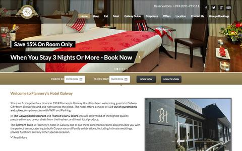 Screenshot of Home Page flanneryshotelgalway.com - Galway Hotels : Flannerys Hotel Galway | Flannerys 3 Star Galway City Hotel - captured Sept. 30, 2014