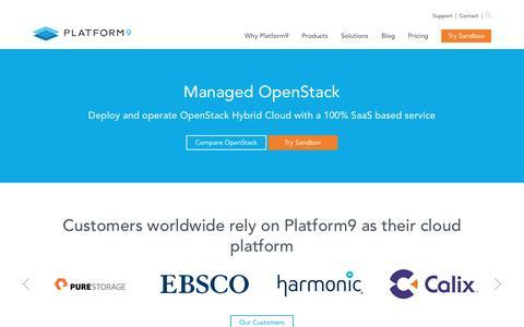 Screenshot of Products Page platform9.com - OpenStack Setup and Deployment Tools | Platform9 - captured May 2, 2017