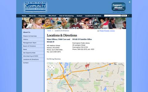 Screenshot of Maps & Directions Page ncscweb.org - Locations & Directions | Newton Community Service Center - captured Oct. 26, 2014