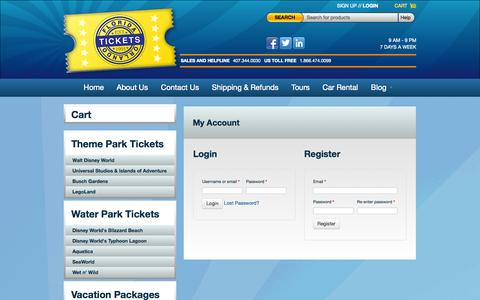 Screenshot of Signup Page Login Page floridaorlandotickets.net - My Account | Florida Orlando Tickets - captured Oct. 23, 2014