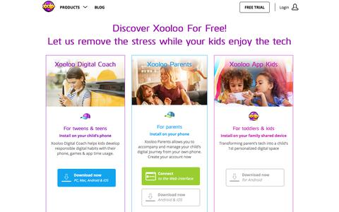 Screenshot of Trial Page xooloo.com - Xooloo Digital Coach helps kids be responsible with digital usage on their own. Get a [FREE 30 Day Trial] Today! - captured Sept. 20, 2018