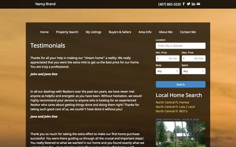 Screenshot of Testimonials Page nancybrand.com - Testimonials | Nancy Brand | Real Estate | Homes For Sale | Astor | Deland | Altoona | Florida | Property Search - captured Oct. 2, 2014