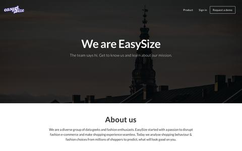 Screenshot of About Page easysize.me - EasySize | We Know Your Size - captured Oct. 16, 2016