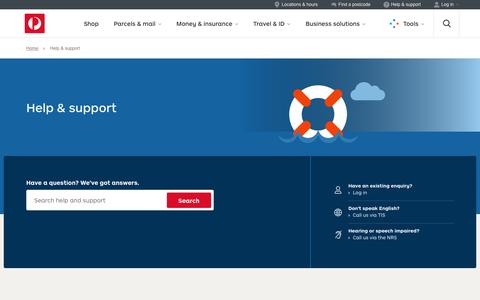Screenshot of Contact Page auspost.com.au - Help & support - Australia Post - captured Aug. 19, 2016