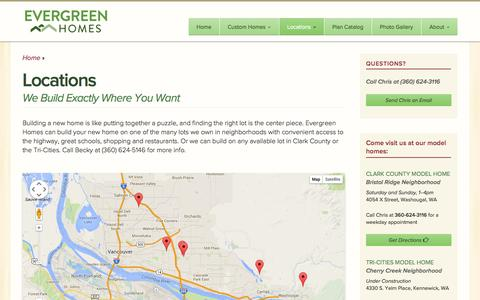 Screenshot of Locations Page evergreenhomesnw.com - Locations | Evergreen HomesEvergreen Homes - captured Sept. 30, 2014