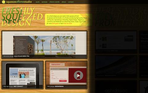 Screenshot of Home Page squeezeoflimestudio.com - Branding, Digital Design, Magento E-commerce and Mobile | Squeeze of Lime Studio - captured Sept. 30, 2014