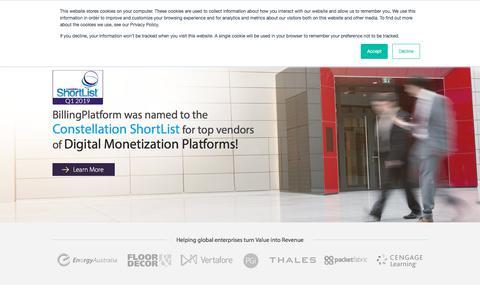 Screenshot of Home Page billingplatform.com - BillingPlatform - Enterprise Billing Solution - captured July 20, 2019