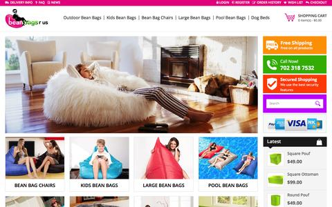 Screenshot of Home Page bean-bags-r-us.com - The Coolest Bean Bags On The Planet - captured Feb. 7, 2016