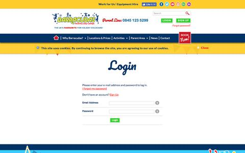 Screenshot of Login Page barracudas.co.uk - Activity Day Camps for Children | Barracudas Kids Camps - captured June 27, 2017