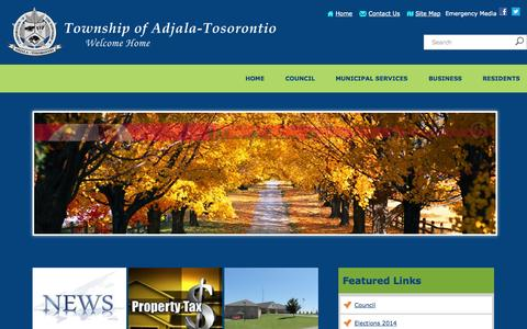 Screenshot of Home Page adjtos.ca - Home              - Adjala Tosorontio - captured Oct. 7, 2014