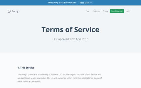 Sorry™ | Our Terms & Conditions of Service