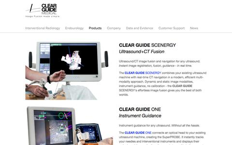 Screenshot of Products Page clearguidemedical.com - Products — Clear Guide Medical - captured May 18, 2017
