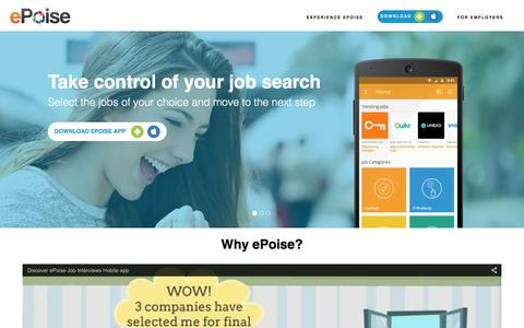 Screenshot of Home Page epoise.com - ePoise Home - Discover exciting start-up jobs and take video interviews on mobile - captured Feb. 2, 2016