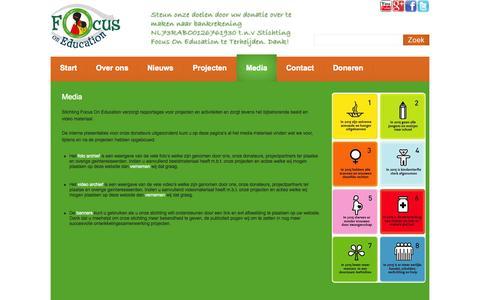 Screenshot of Press Page focusoneducation.nl - Media | Focus On Education: ontwikkelingssamenwerking & goede doelen projecten - captured Sept. 30, 2014