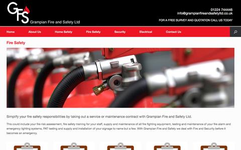 Screenshot of Services Page grampianfireandsafetyltd.co.uk - Fire Safety | Grampian Fire and Safety | Security, Electrical and Fire Safety in Aberdeen - captured May 22, 2017