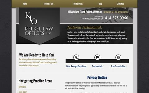 Screenshot of Privacy Page kelbellaw.com - Debt Relief Attorney in Milwaukee | Privacy Policy - captured Oct. 6, 2014