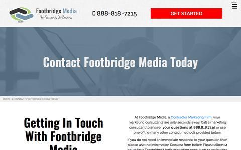 Screenshot of Contact Page footbridgemedia.com - Contact Our Contractor Marketing Firm | Footbridge Media - captured May 23, 2018
