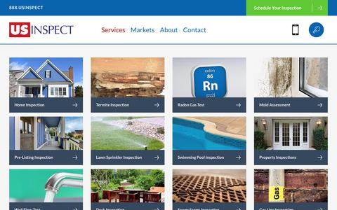 Screenshot of Services Page usinspect.com - Services - Home Inspections by US Inspect - captured July 27, 2018