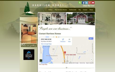 Screenshot of Contact Page harrhomes.com - Harrison Homes - captured Oct. 2, 2014