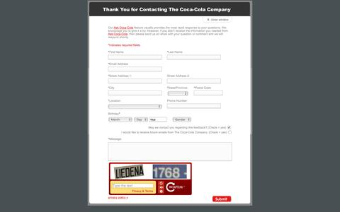 Screenshot of Landing Page coca-colacompany.com - Coca-Cola - eQuery Form - Other - captured Aug. 13, 2016