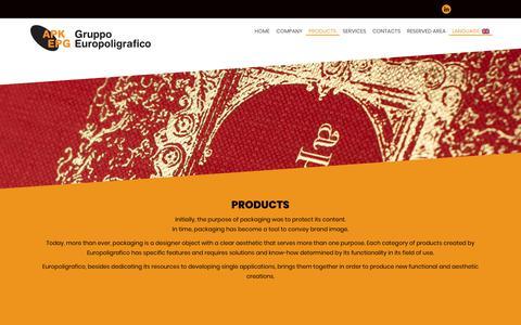 Screenshot of Products Page europoligrafico.it - PRODOTTI   europoligrafico - captured Sept. 29, 2018