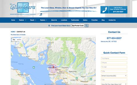 Screenshot of Contact Page theglassguru.com - Contact Us Canada | The Glass Guru Canada - captured Nov. 8, 2017