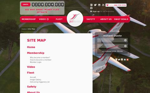 Screenshot of Site Map Page jetsuite.com - Sitemap | JetSuite - captured July 20, 2014