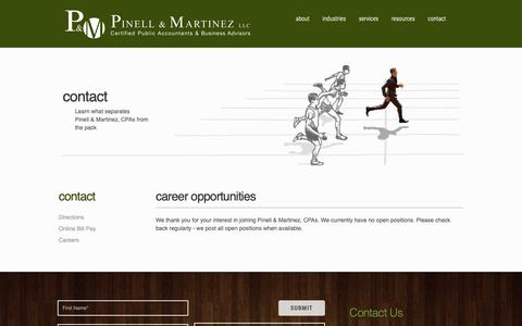 Screenshot of Jobs Page pinmarcpa.com - Accounting & CPA Careers | Pinell & Martinez, LLC | Tax and Accounting Services - captured Sept. 28, 2018