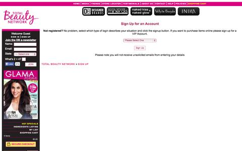 Screenshot of Signup Page tbn.com.au - Sign Up - Total Beauty Network - captured Oct. 7, 2014