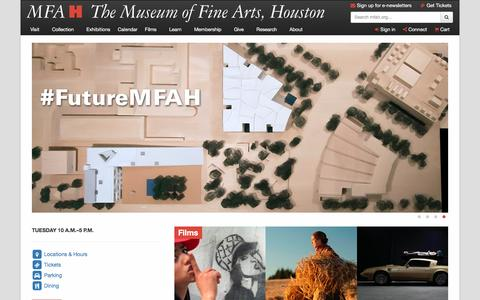 Screenshot of Home Page mfah.org - Home | The Museum of Fine Arts, Houston - captured Sept. 6, 2016