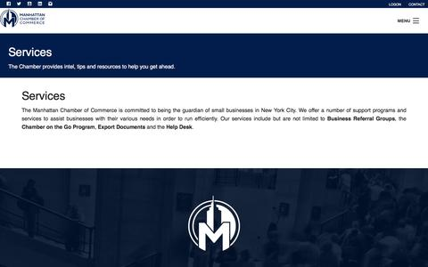Screenshot of Services Page manhattancc.org - Services  | Manhattan Chamber of Commerce. - captured Sept. 22, 2018