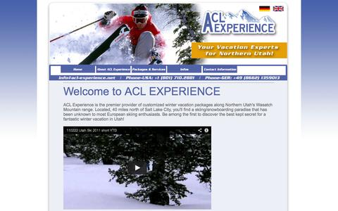 Screenshot of Home Page acl-experience.com - ACL EXPERIENCE :: Vacation Experts for Northern Utah - captured Sept. 30, 2014