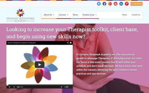 Screenshot of Menu Page dynamicbodywork.co.uk - Massage Courses & Massage Training In London, Edinburgh, Spondon & Maidstone :: Dynamic Bodywork Academy - captured Nov. 3, 2014