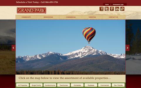 Screenshot of Home Page grandparkco.com - Grand Park - captured Oct. 3, 2014