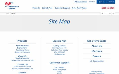 Site Map - AAA Life Insurance Company