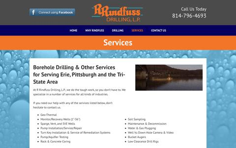 Screenshot of Services Page rrdrill.com - Borehole Drilling Erie & Pittsburgh, PA   Water Well Drilling - captured July 2, 2018