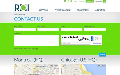 Screenshot of Contact Page roivision.com - Contact us | Lead Generation Company | Montreal | Chicago | ROI - captured Oct. 6, 2014