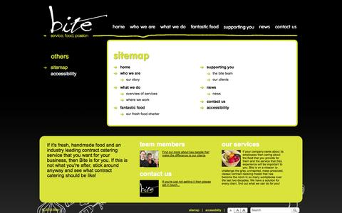 Screenshot of Site Map Page biteonline.co.uk - Bite Catering Limited - sitemap - captured Oct. 5, 2014