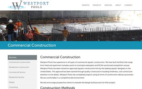 Screenshot of Services Page westportpools.com - Commercial Construction Process | Westport Pools - captured Dec. 16, 2016