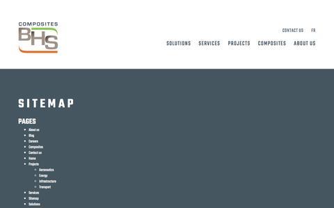 Screenshot of Site Map Page compositesbhs.com - Sitemap   BHS Composites - captured Nov. 10, 2016