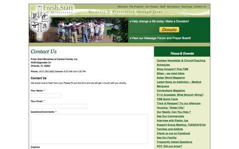 Screenshot of Contact Page freshstartministries.com - Contact Us | Fresh Start Ministries - captured Oct. 6, 2014