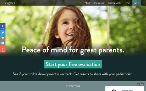 Screenshot of Home Page cognoa.com - Cognoa - Child Development and Behavior Community for Parents - captured July 14, 2016